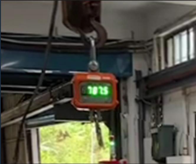 吊重到787.5公斤時鋼絲斷裂-放大顯示數據